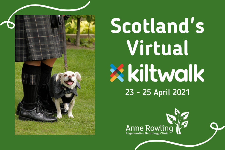 Man in kilt with dog and wording Scotland's Virtual kiltwalk