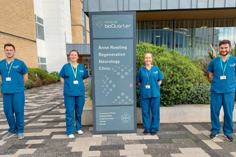 FutureMS-2 staff standing outside of the Anne Rowling Clinic