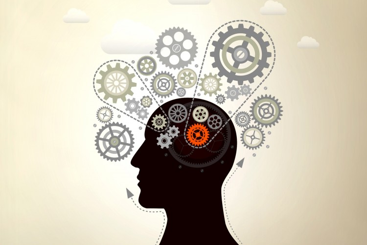 illustration of a human head with cogs representing the brain.
